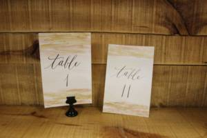 Double Metallic Calligraphy Table Numbers -Vintique Rental WI