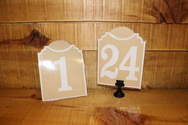 Tan Table Numbers- Vintique Rental -WI