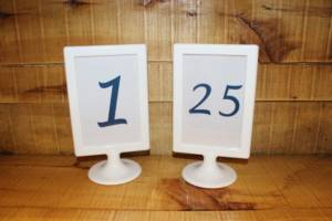 White & Blue Table Numbers -Vintique Rental WI