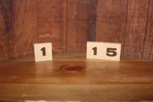 2x2 Wood Block Table Numbers -Vintique Rental WI
