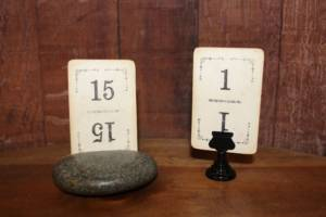 Worn Playing Card Table Numbers -Vintique Rental WI