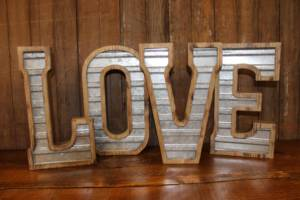 Galvanized & Wood LOVE Letters - Vintique Rental WI