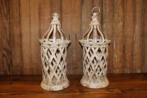 Rustic Cream Open Lanterns - Vintique Rental WI