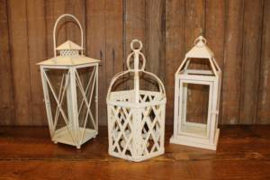 Mismatched Cream Lanterns- Vintique Rental WI