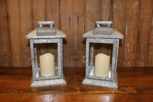 Galvanized Lantern w/LED Candle- Vintique Rental WI