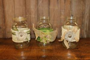 Decorated Clear Quart Jars- Vintique Rental WI