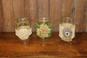 Decorated Clear Pint Jars- Vintique Rental WI