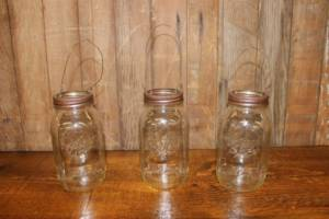 Wire Hanging Clear Quart Mason Jars- Vintique Rental WI
