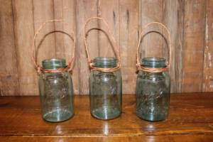 Twine Hanging Blue Quart Mason Jars- Vintique Rental WI