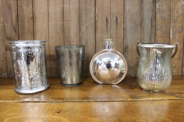 Silver Mercury Glass Vases- L- Vintique Rental WI