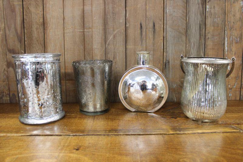 Silver Mercury Glass Vases L Vintique Rental