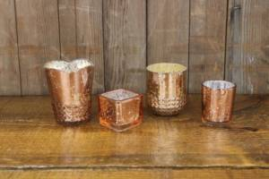 Assorted Rose Gold Votives- Vintique Rental WI