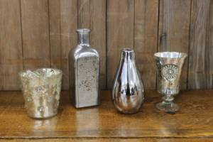 Silver Mercury Glass Vases- S- Vintique Rental WI