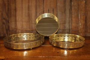 Modern Etched Gold Mirror Trays- Vintique Rental WI