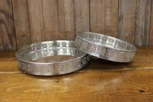 Modern Etched Silver Mirror Trays- Vintique Rental WI