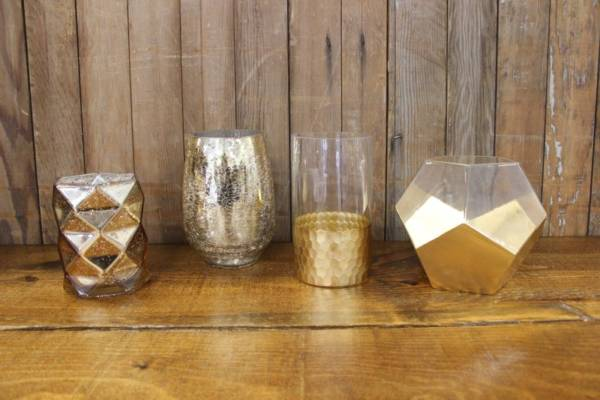 Gold Mercury Glass Vases- M- Vintique Rental WI