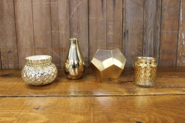 Gold Mercury Glass Vases- S- Vintique Rental WI