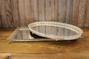 Mismatched Gold & Silver Mirror Trays-L- Vintique Rental WI
