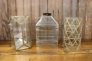 Gold Geometric Terrarium-L Vintique Rental WI