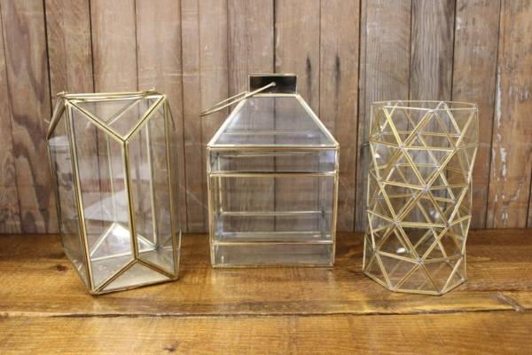 Gold Geometric Terrarium-L Vintique Rental WI