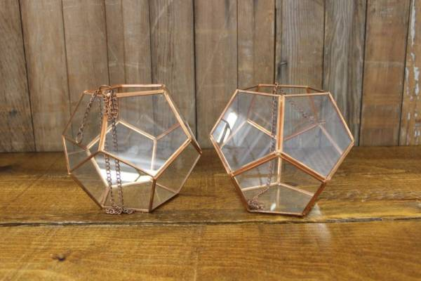 Copper Geometric Terrarium-L- Vintique Rental WI