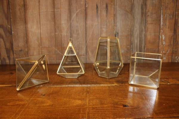 Gold Geometric Terrarium-M- Vintique Rental WI