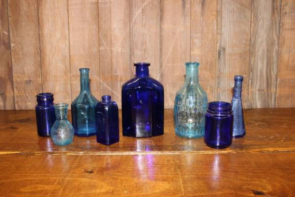 Assorted Blue Bottles-S- Vintique Rental WI