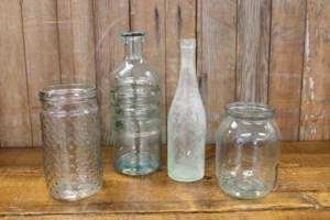 Assorted Sea Green Bottles-L Vintique Rental WI