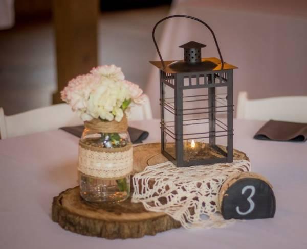Lace Mason & Lantern Centerpiece