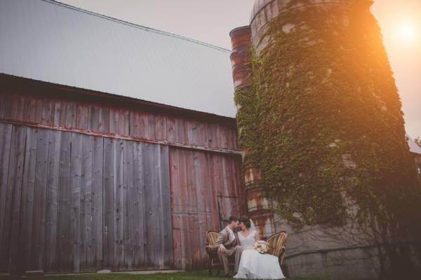 Dark Butterscotch Sofa Wedding Photo Shoot