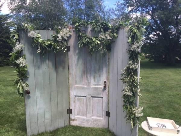 White & Sea Green Hinged Door Backdrop