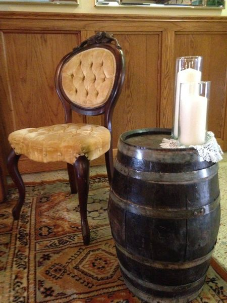 Barrel Side Table & Butter Cream Velvet Chairs