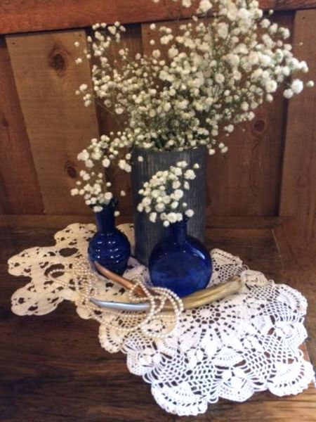 Riveted Tin Vases & Pearls