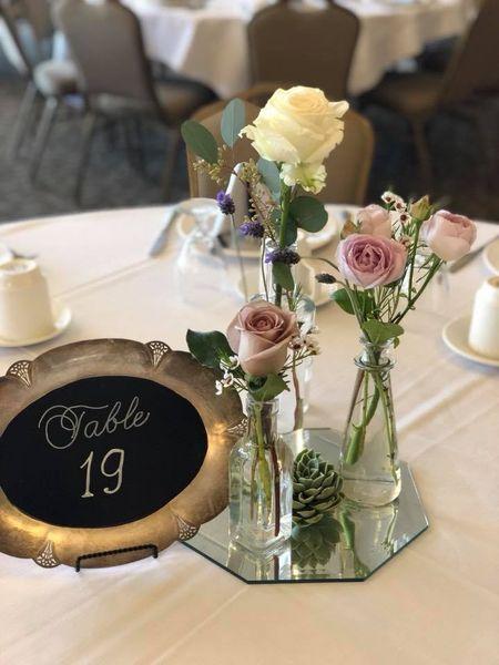Centerpiece: Bottles & Table Number