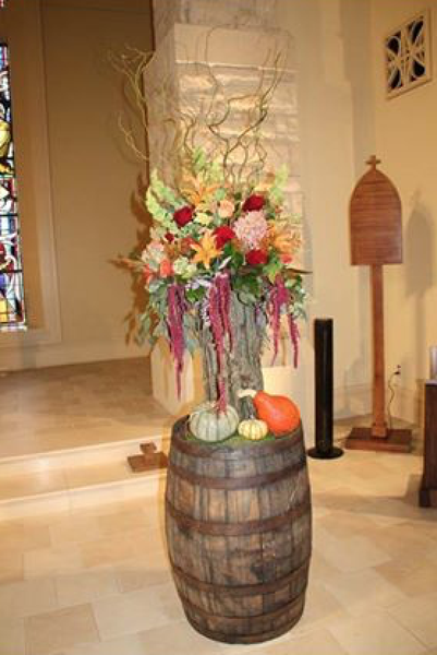 Fall Decorated Whiskey/Wine Barrels