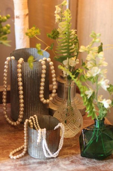 Riveted Tin Vases with pearls