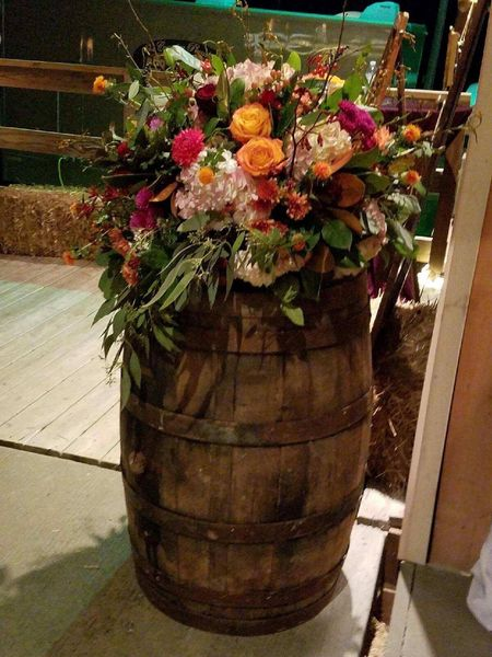 Whiskey/Wine Barrels with Floral