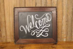 """F210 Dimpled Walnut """"Welcome"""" Sign"""
