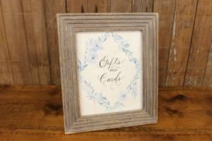 "J32: Blue Floral ""Cards & Gifts"" Sign"