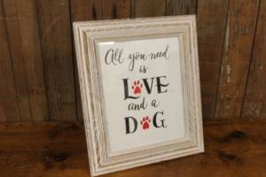 "J38: ""Love & A Dog"" Sign"