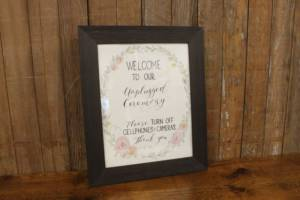 "J39: Pastel Floral ""Unplugged"" Sign"