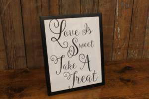 "J40: Simple Black ""Sweet/Treat"" Sign"