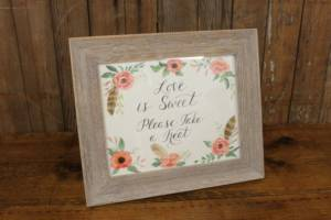 "J42: Feather Floral ""Sweet/Treat"" Sign"