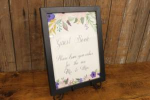 "J53: Rustic Floral ""Guest Book"" Sign"