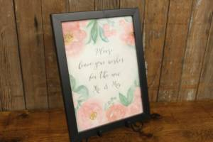 """J57: Pink Floral """"Leave Your Wishes"""" Sign"""