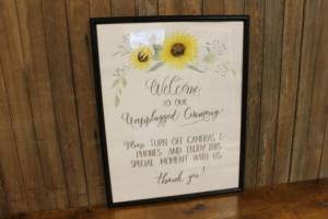 "J60: Sunflower ""Unplugged"" Sign"