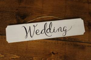 """F294: Hanging White """"Wedding"""" Sign"""