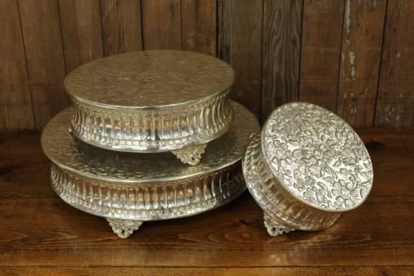 Bright Silver Round Cake Stand Set