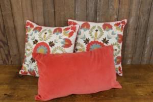 Coral Floral Pillow Set