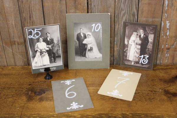 Vintage Wedding Photo Table Numbers
